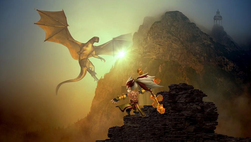 ドラゴンと戦う孫悟空